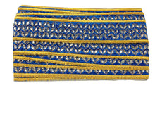 Load image into Gallery viewer, fabric trim wholesale trimming in fashion Blue Cobalt Blue, Yellow, Gold Embroidery n Stone Polyester Less than 2 inch
