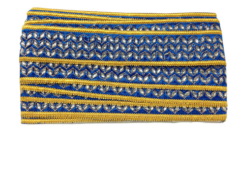Image of fabric trim wholesale trimming in fashion Blue Cobalt Blue, Yellow, Gold Embroidery n Stone Polyester Less than 2 inch