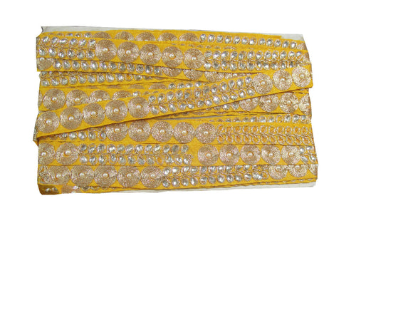 lace fabric online india wholesale fringe trim Yellow Yellow, Gold Embroidery n Stone Polyester Less than a inch