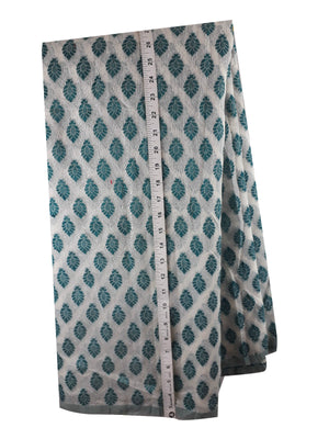 buy blouse fabric online india indian material online Embroidered, Jaquard Cotton Off White, Green 49 inches Wide 1794
