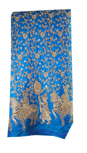 ethnic material online shop embroidery laces online Paper Silk Cobalt Blue 44 inches Wide 8001