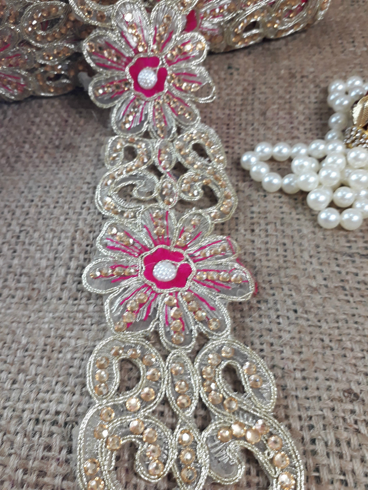 venice lace trim sewing trims and embellishments Gold Rani Pink, Gold Guipure Lace, Cutwork, Applique, Embroidered, Hand Beaded, Edging Polyester Less than 3 inch