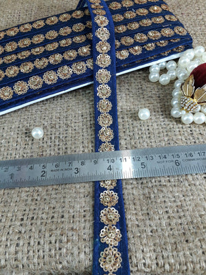 cheap fabric trim lace fabric by the yard Blue Gold Embroidery, Sequins Polyester Less than a inch