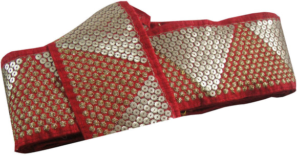 saree borders wholesale wholesale trims los angeles Red Red Maroon, Gold Embroidery n Sequins Shinny Sturdy Fabric Less than 4 inch