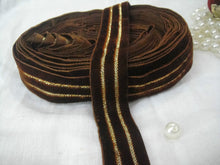 Load image into Gallery viewer, cotton lace trim by the yard lace by the yard Brown Brown Velvet Strip 2 golden lines Velvet Less than 2 inch