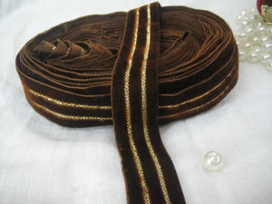 cotton lace trim by the yard lace by the yard Brown Brown Velvet Strip 2 golden lines Velvet Less than 2 inch