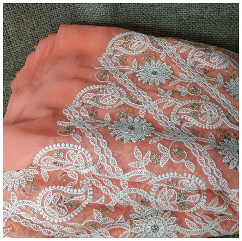 Image of embroidery fabric for sale indian embroidery fabric Georgette Peach, White, Gold 43 inches Wide 8005