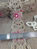 wedding dress appliques suppliers sewing trims and embellishments Maroon Gold Embroidery, Sequins Polyester Less than a inch