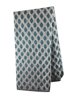 running fabrics online india indian material online Embroidered, Jaquard Cotton Off White, Green 49 inches Wide 1794
