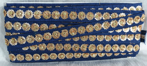 beaded bridal trim by the yard lace fabric by the yard Blue Gold Embroidery, Sequins Polyester Less than a inch