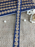 fringe fabric for dresses lace fabric by the yard Blue Gold Embroidery, Sequins Polyester Less than a inch