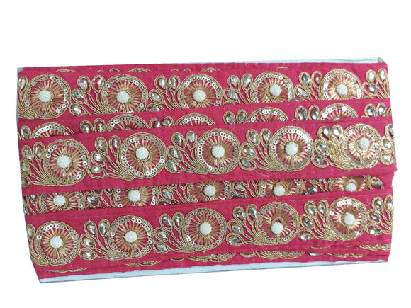 saree lace price fabric trim wholesale Pink Gold, Pink, Off White Embroidered, Stone, Pearl Polyester Less than 2 inch
