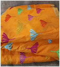 Load image into Gallery viewer, running material clothing online online fabric store india Embroidery Chanderi Cotton Orange 43 inches Wide ange