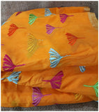 running material clothing online online fabric store india Embroidery Chanderi Cotton Orange 43 inches Wide ange