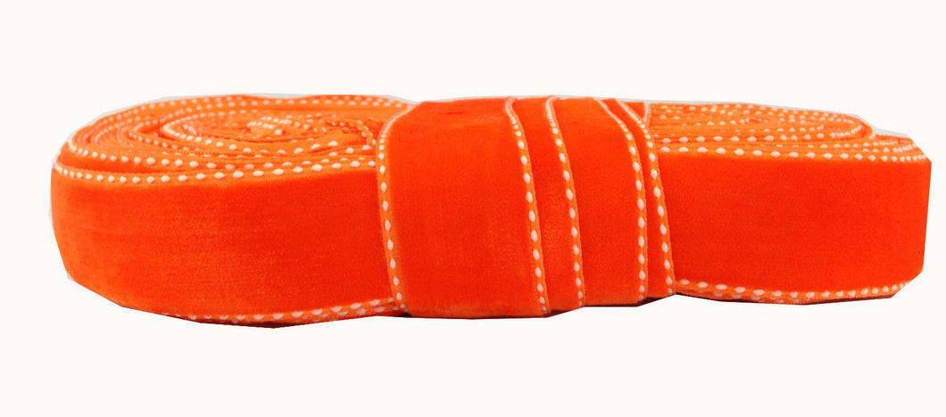 decorative trim for clothing long fringe by the yard Orange Orange Velvet Strip with white border on both sides Velvet Less than 2 inch