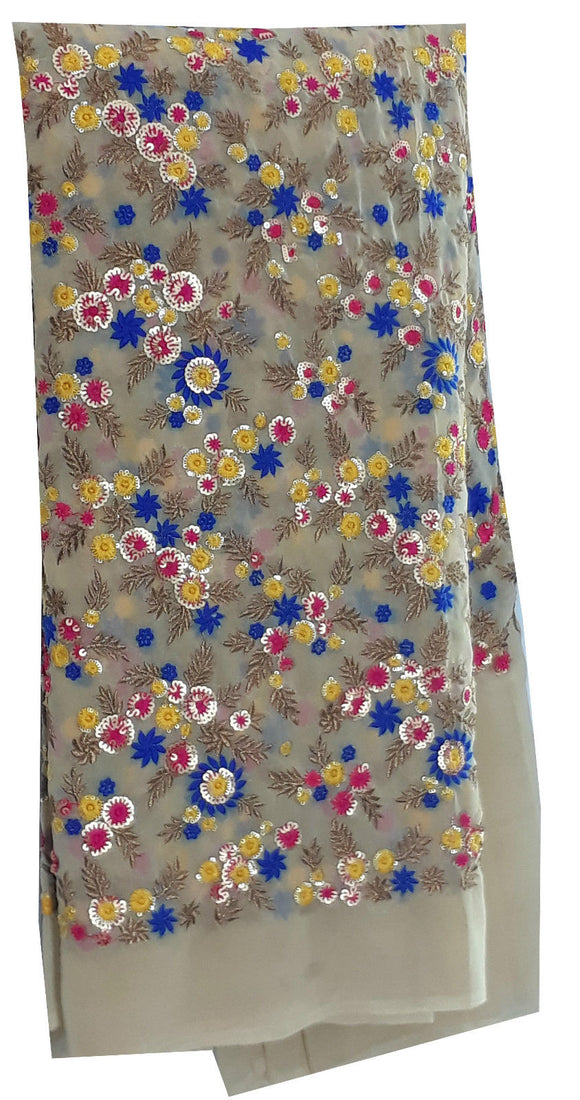 embroidery fabric online embroidery cloth Georgette Beige, Blue, Pink, Gold 56 inches Wide 1648