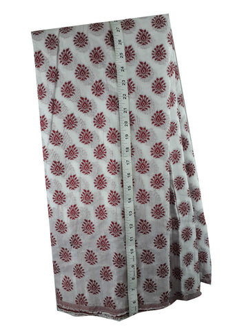Image of embroidery fabric online india buy lace fabric online india Embroidered, Jaquard Cotton Off White, Maroon 49 inches Wide 1792