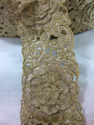 bridal lace fabric online india bridal rhinestone appliques wholesale Gold Copper Embroidery Polyester Less than 4 inch