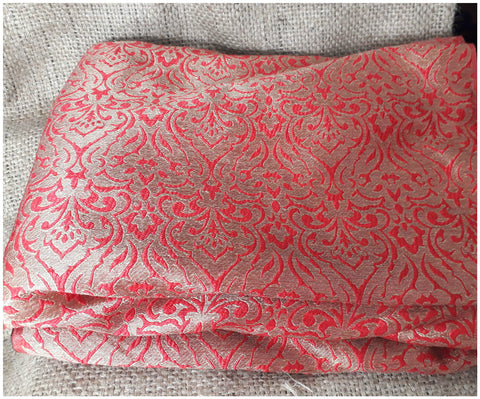 Image of white embroidered fabric saree work materials Jacquard Soft Polyester Silk Red, Gold 43 inches Wide 8014