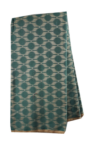 kutch embroidery blouse material online buy blouse fabric online Embroidery Chanderi Cotton Sea Green, Cream 44 inches Wide 1730