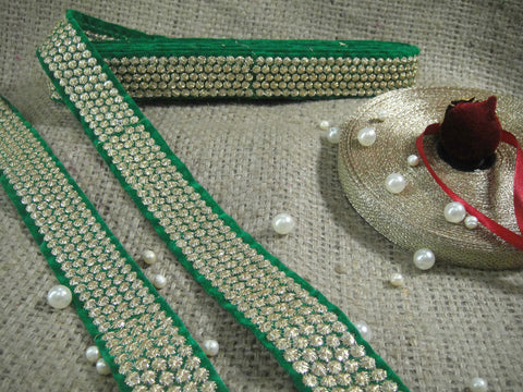 fringe fabric for dresses beaded bridal trim by the yard Green Gold Embroidery on sequins Velvet Less than 2 inch