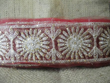 Load image into Gallery viewer, sewing trims and embellishments beaded applique trim Maroon Maroon, Dull Gold Embroidery n Stone Net Less than 4 inch