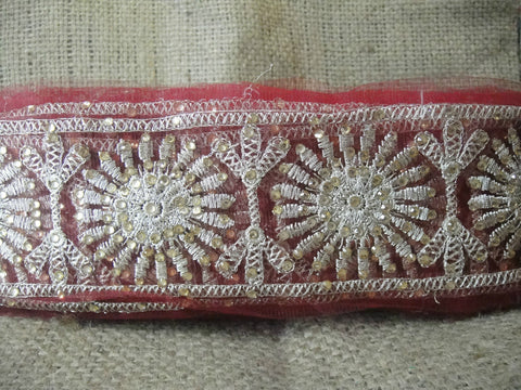 Image of sewing trims and embellishments beaded applique trim Maroon Maroon, Dull Gold Embroidery n Stone Net Less than 4 inch