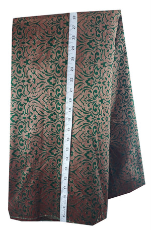 buy designer fabric online india buy fabric online wholesale india Jacquard Soft Polyester Silk Bottle Green, Gold 43 inches Wide 8012