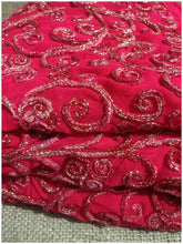 Load image into Gallery viewer, indian embroidered fabric dress material Embroidery Georgette Pink 41 inches Wide 8002