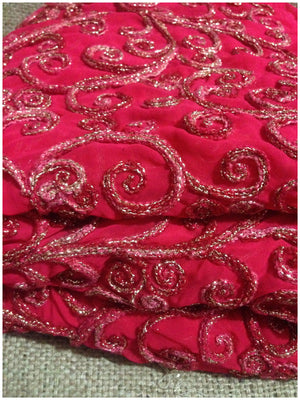 indian embroidered fabric dress material Embroidery Georgette Pink 41 inches Wide 8002