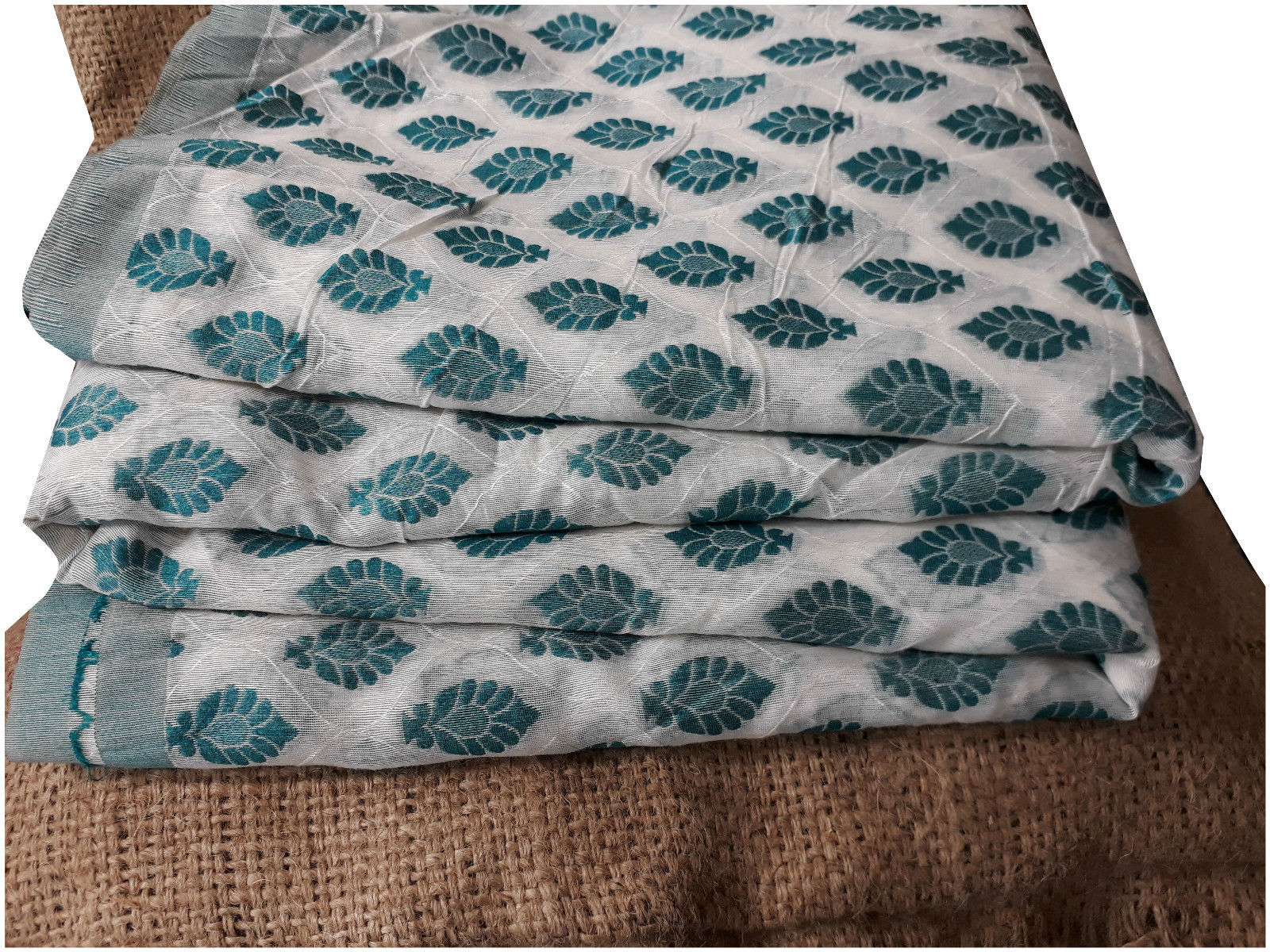 ethnic fabric online indian material online Embroidered, Jaquard Cotton Off White, Green 49 inches Wide 1794