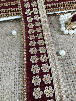 fabric trim suppliers lace fabric by the yard Blue Gold Embroidery, Sequins Polyester Less than a inch