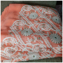 Load image into Gallery viewer, fabric online india indian embroidery fabric Georgette Peach, White, Gold 43 inches Wide 8005