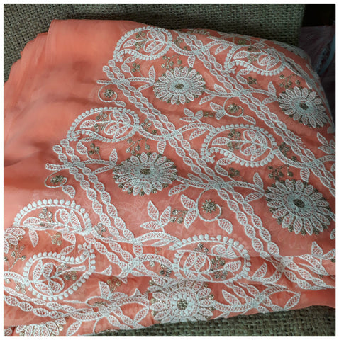 Image of fabric online india indian embroidery fabric Georgette Peach, White, Gold 43 inches Wide 8005