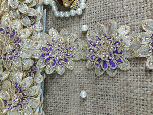 fringe fabric for dresses fabric trim suppliers Gold Purple 3D flower, embroidery, Stone Polyester Less than 4 inch