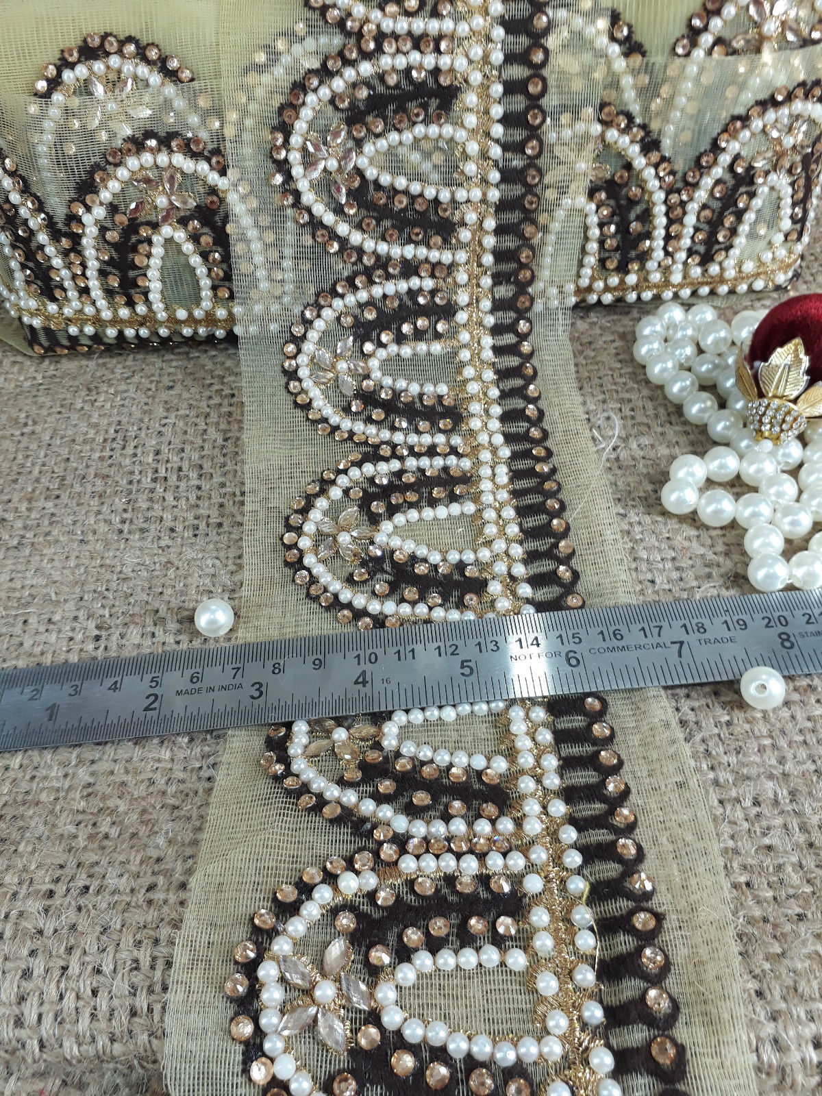 black lace applique trim gold lace applique Beige Gold, Off White, Brown Embroidered, Stone, Pearl Net Less than 4 inch