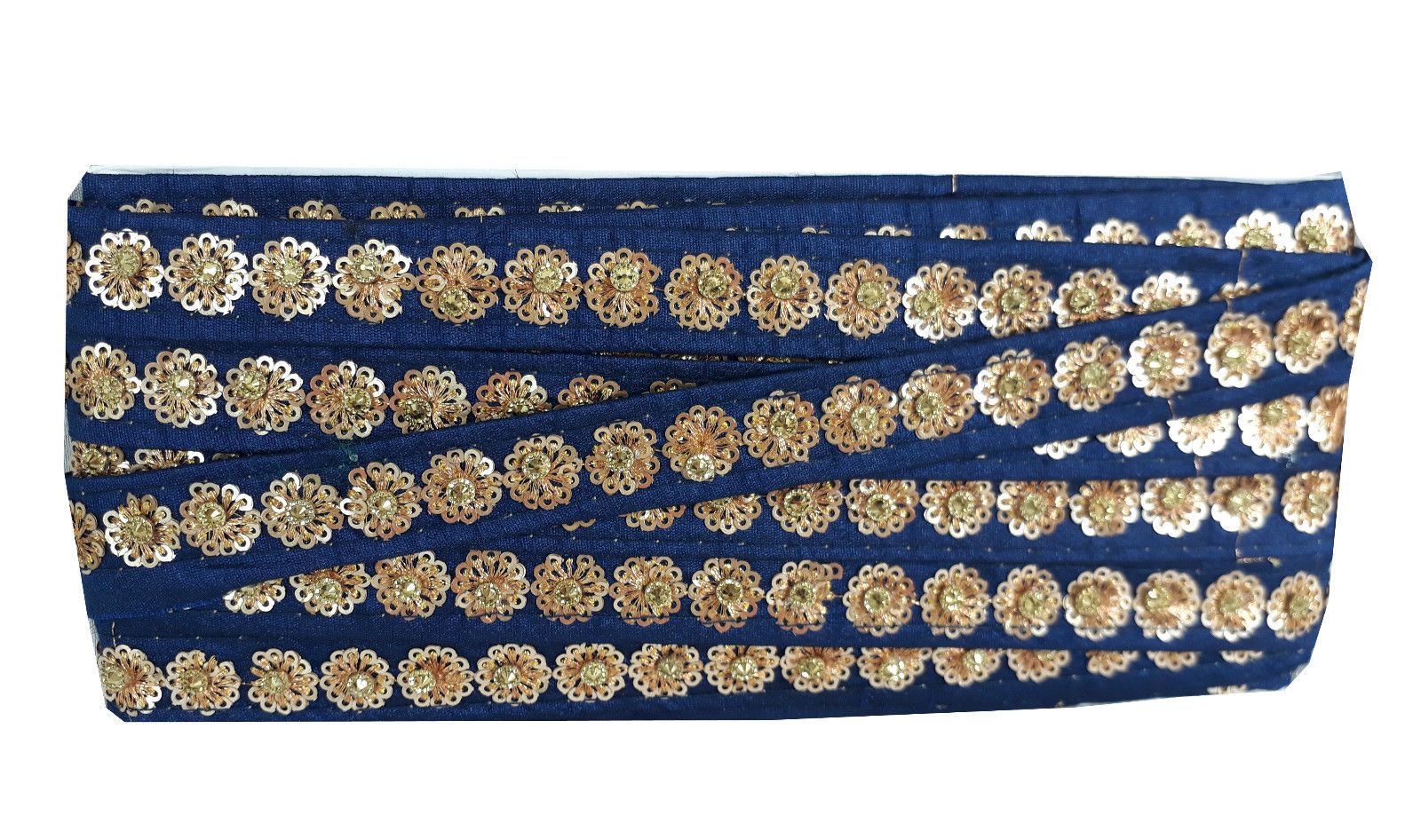 fabric trim wholesale lace fabric by the yard Blue Gold Embroidery, Sequins Polyester Less than a inch