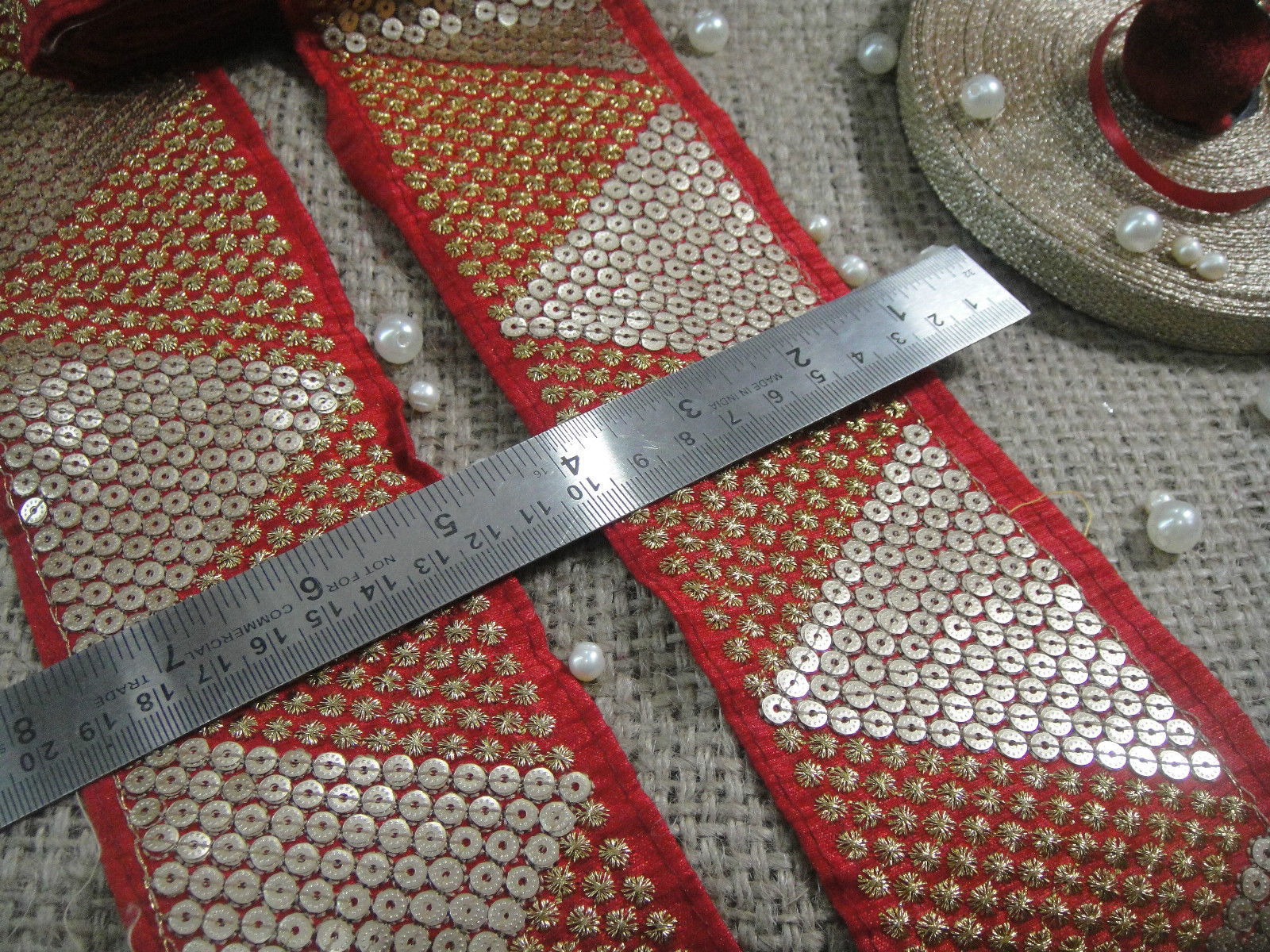 saree borders with price wholesale trims los angeles Red Red Maroon, Gold Embroidery n Sequins Shinny Sturdy Fabric Less than 4 inch
