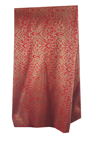 Image of embroidery beads online saree work materials Jacquard Soft Polyester Silk Red, Gold 43 inches Wide 8014