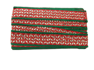 lace applique trim trims in fashion Red Red, Green, Gold Embroidery n Stone Polyester Less than 2 inch