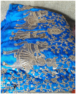 designer fabric india embroidery laces online Paper Silk Cobalt Blue 44 inches Wide 8001