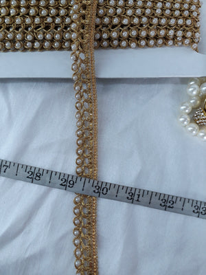 lace appliques michaels decorative trim for clothing Gold Pearl, Gold Embroidery n Pearl Polyester Less than a inch