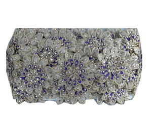 beaded bridal trim by the yard fabric trim suppliers Gold Purple 3D flower, embroidery, Stone Polyester Less than 4 inch