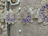 fringe trim by the yard fabric trim suppliers Gold Purple 3D flower, embroidery, Stone Polyester Less than 4 inch