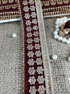 Fabric Trim for Garment lace appliques michaels Maroon Gold, Maroon Embroidery, Stone, Sequins Velvet Less than 3 inch