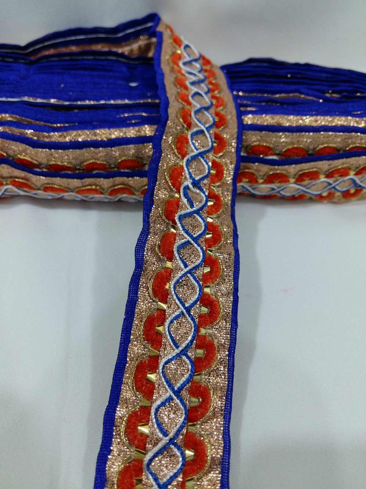 sewing trims and embellishments fabric ribbon trim Blue Silver, Orange, White Embroidered Polyester Less than 2 inch