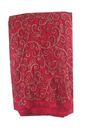 embroidered fabric for dresses dress material Embroidery Georgette Pink 41 inches Wide 8002