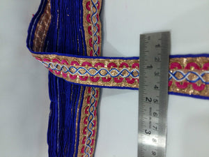 sewing trim on clothing fabric ribbon trim Blue Silver, Orange, White Embroidered Polyester Less than 2 inch