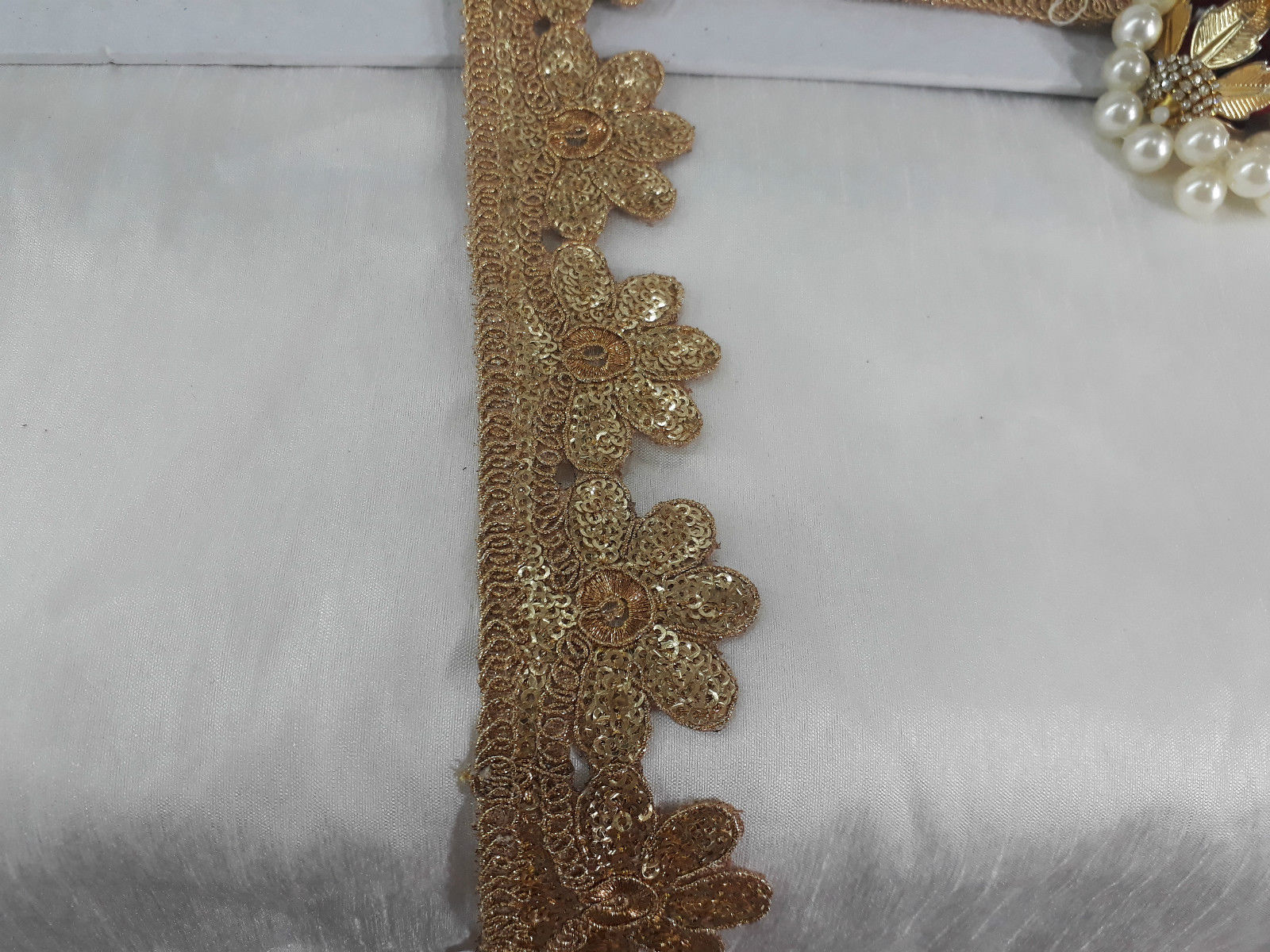 fabric trim with holes decorative lace trim Gold Gold Embroidery n Sequins Polyester Less than 2 inch