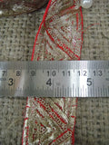 beaded bridal lace fabric fringe trim for flapper dress Red Gold Embroidery with Sequins Polyester Less than 2 inch